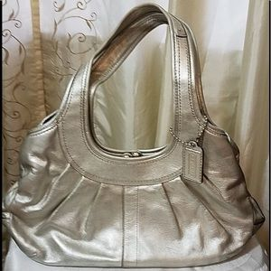 Coach pewter/silver shoulder bag with satin lined